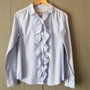 Loft Blue Ruffle Button-down Small